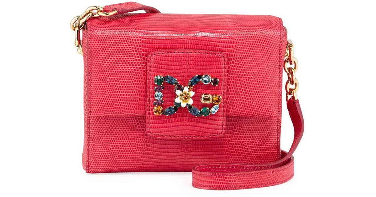 0be5af507cb7 Lyst - Dolce   Gabbana Crystal Logo Shoulder Bag in Pink