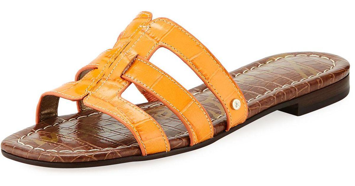 664ceef587d Lyst - Sam Edelman Berit Strappy Croc-embossed Flat Slide Sandal