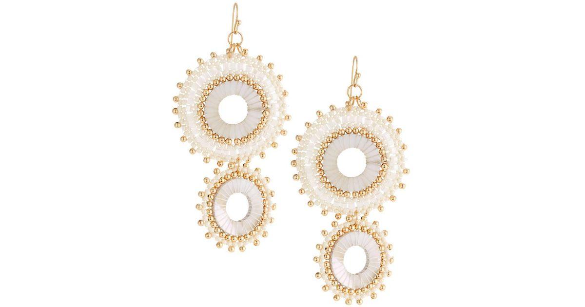 Panacea Double Pearl Circle Drop Earrings 80dHw