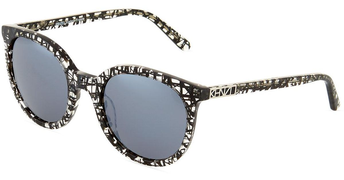 bf6de25a00e9f Lyst - KENZO Abstract-print Cat-eye Plastic Sunglasses in Black