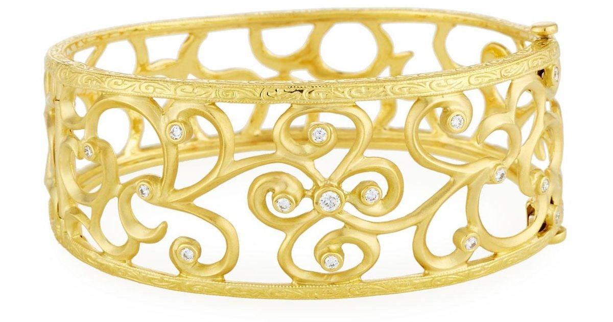 Penny Preville 18k Large Square Link Diamond Cuff Bracelet SHQbslE