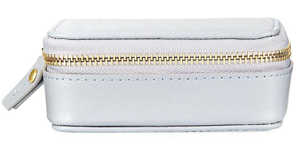 Lyst - Neiman Marcus Small Saffiano Leather Pill Case in Gray 347bdf572d0f5