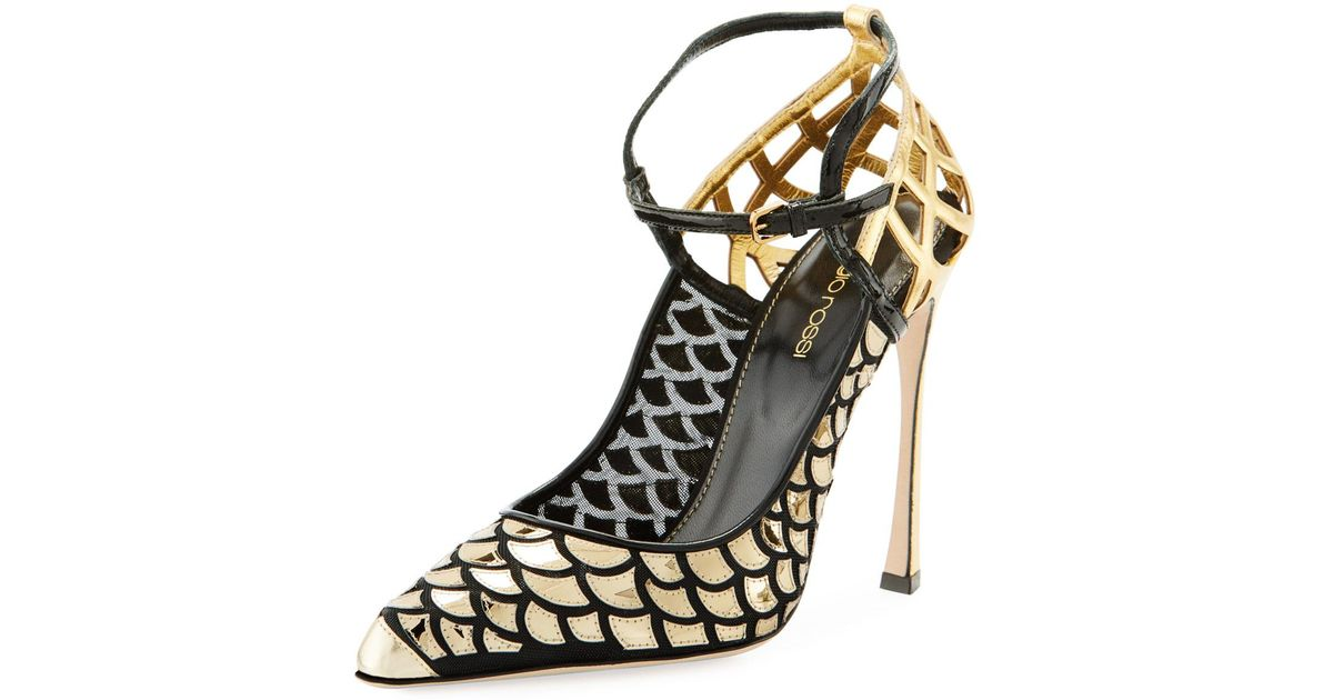8088b38c4f6 Lyst - Sergio Rossi Scale   Cutout-leather Ankle-strap Pumps in Metallic