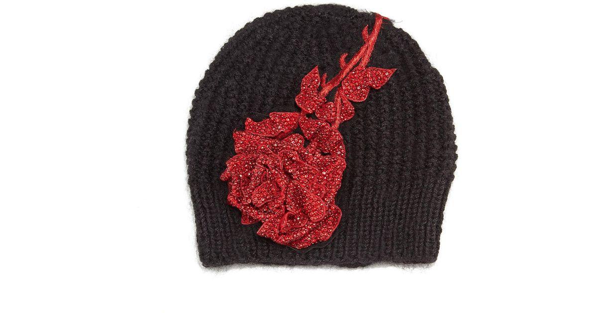 5cd9c72de7616 Lyst - Jennifer Behr Crystal Rose Knit Beanie Hat in Black