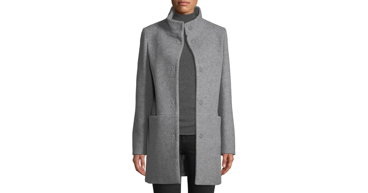 5d21431c375 Lyst - Cinzia Rocca Snap-button Wool-blend Walking Coat Light Gray in Gray