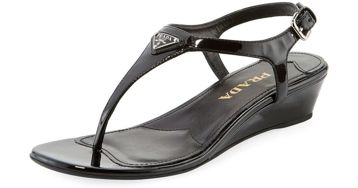 c555c082e5a Lyst - Prada Patent Demi-wedge Thong Sandal in Black
