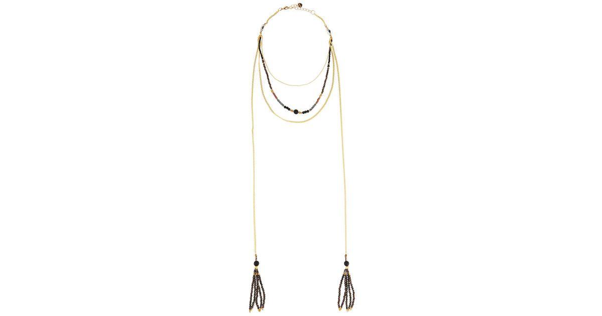 Nakamol Beaded Multi-Strand Choker Necklace w/ Moon Charm 7HnIjAma