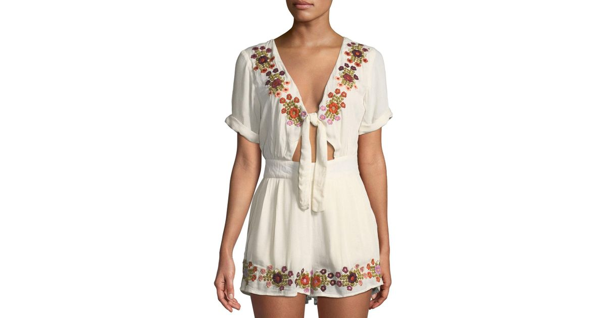 c277d8dd1b4 Lyst - Tularosa Rowley Floral-embroidered Romper W  Tie Keyhole Front in  Natural