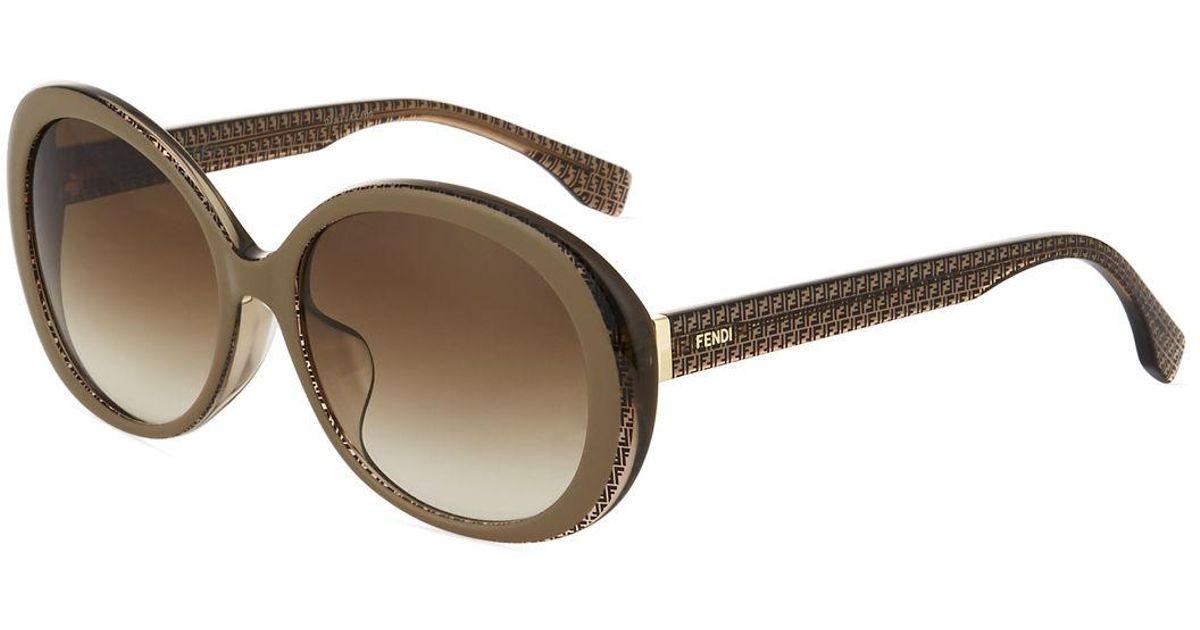 adb0c67343 Lyst - Fendi Modified Round Plastic Sunglasses in Black