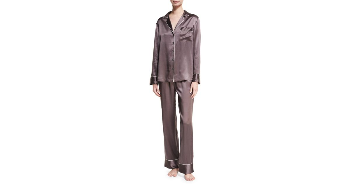 Lyst - Neiman Marcus Silk Satin Two-piece Pajama Set in Red 90c7a5587