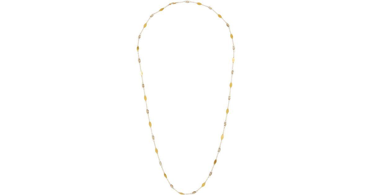 Gurhan 24k Thin Willow Bloom Leaf Necklace w/ Quartz 2P27Pc33