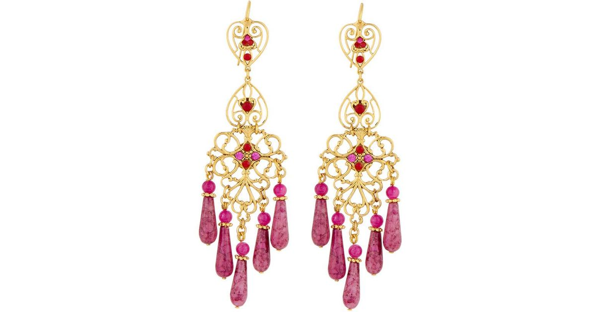 Jose & Maria Barrera Agate & Crystal Teardrop Earrings, Pink