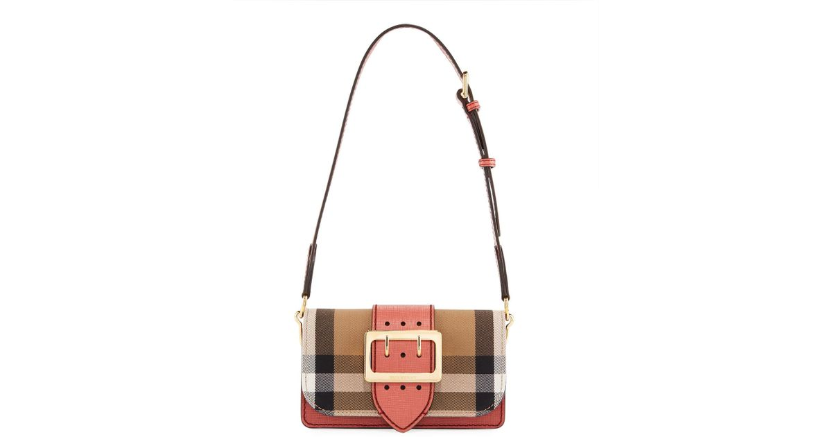 b509c9be8abf Lyst - Burberry Bridle Small House Check Belt Shoulder Crossbody Bag in Pink