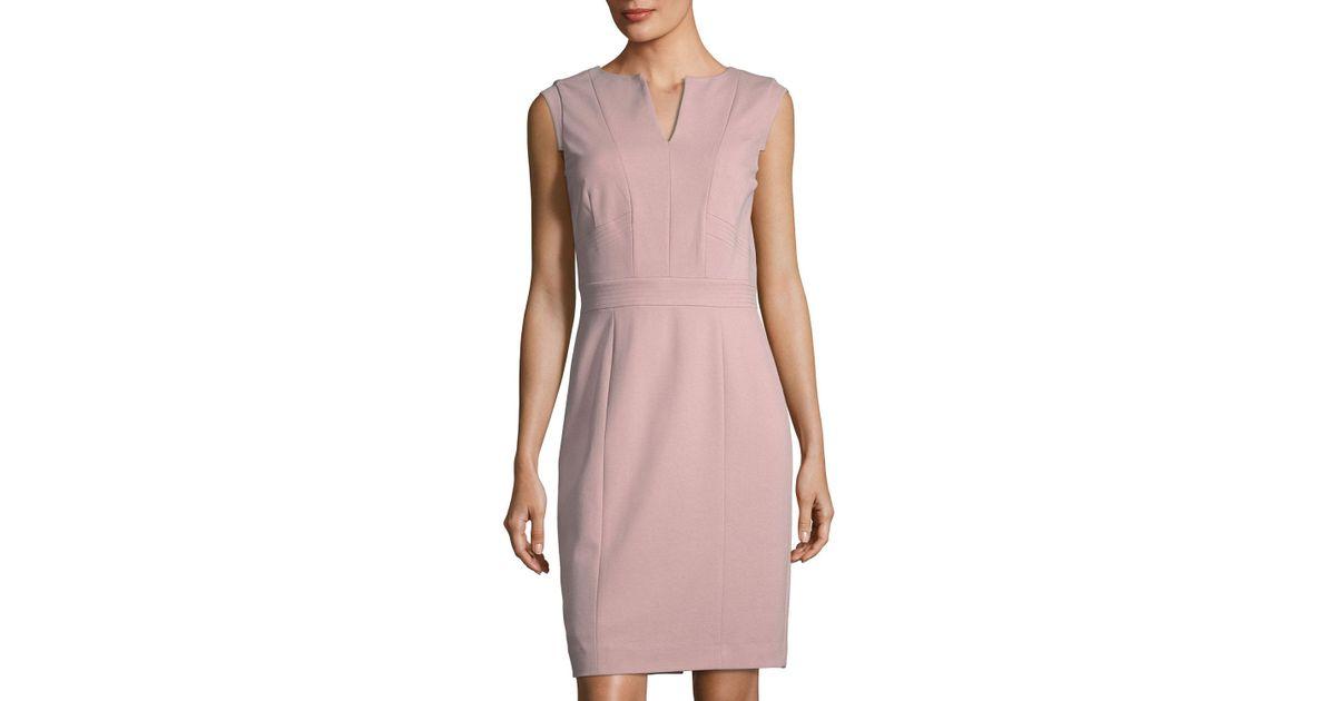 a62bd31d5d Lyst - Tahari Ponte V-neck Sheath Dress in Pink