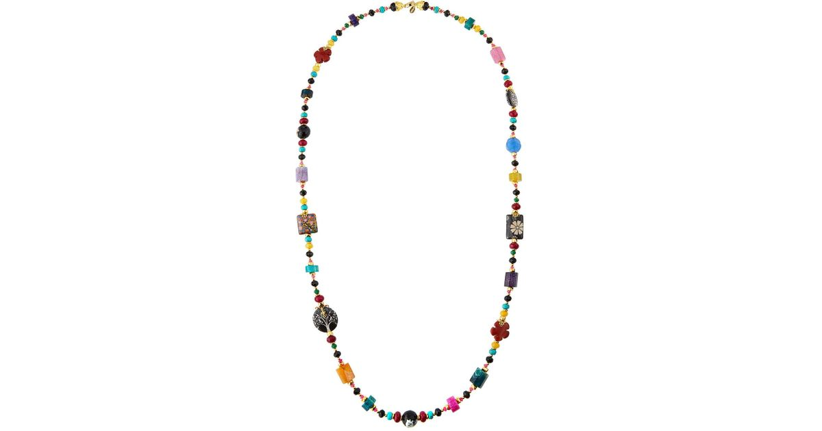 Jose & Maria Barrera Four-Strand Agate & Cloisonne Necklace