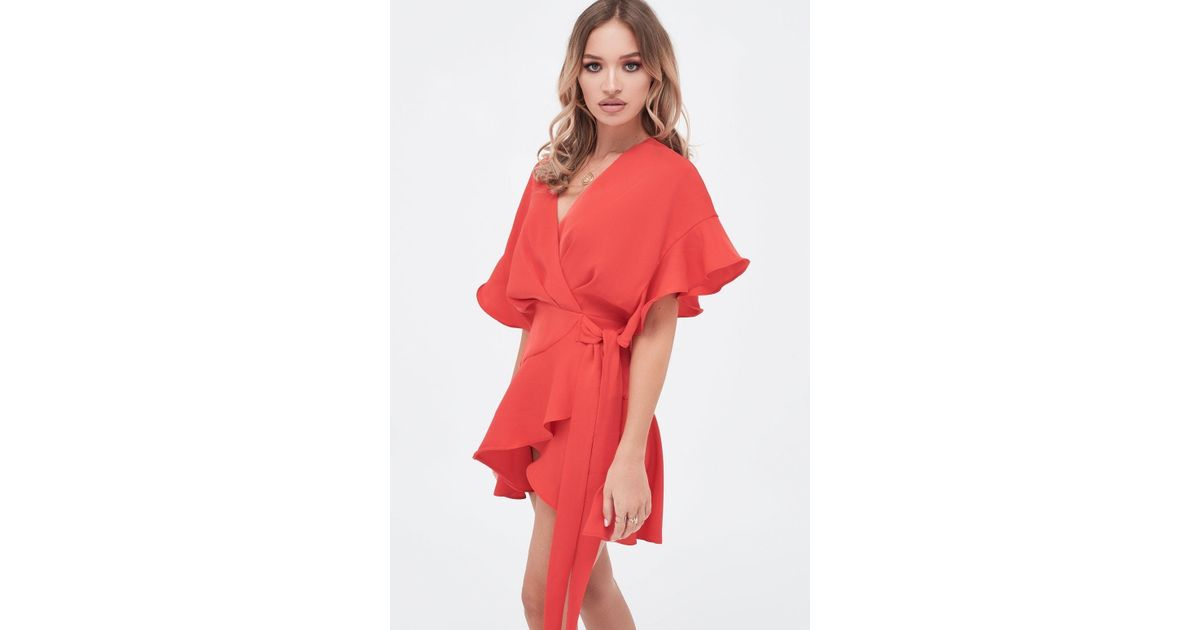 92f42528ea2 Lavish Alice Frill Sleeve Wrap Mini Dress In Scarlet Red in Red - Lyst