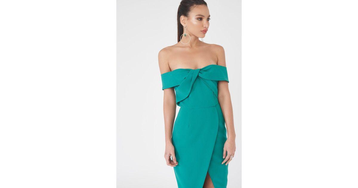 c66b7d260a3 Lavish Alice Woven Twist Bardot Midi Dress In Jade Green in Green - Lyst