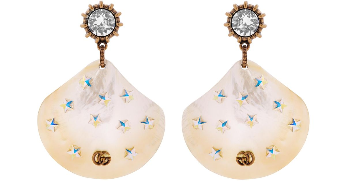 78e501e2ce2 Lyst - Gucci Mother Of Pearl Shell Drop Earrings in Yellow