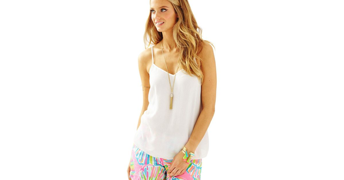 fe7f0f78584 Lilly Pulitzer Dusk Racer Back Tank Top in White - Lyst