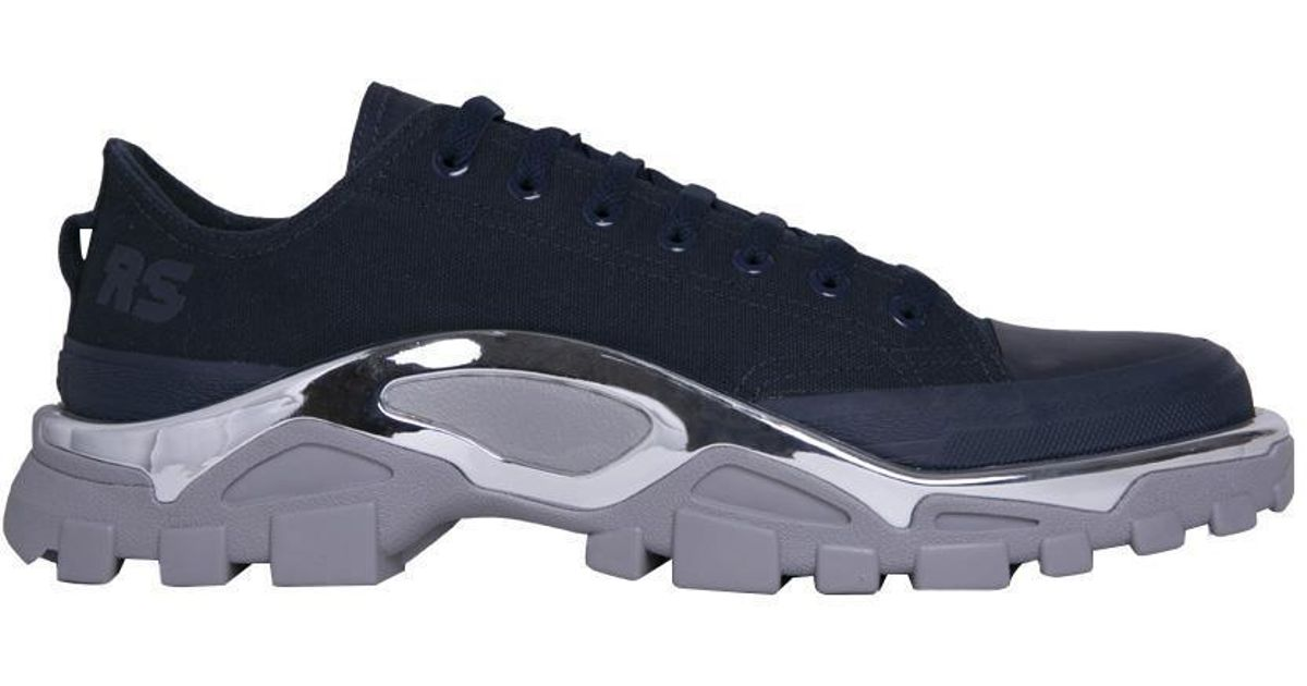 designer fashion 271fc b8af8 Lyst - Raf Simons + Adidas Originals Detroit Runner Rubber-trimmed Canvas  Sneakers in Blue for Men