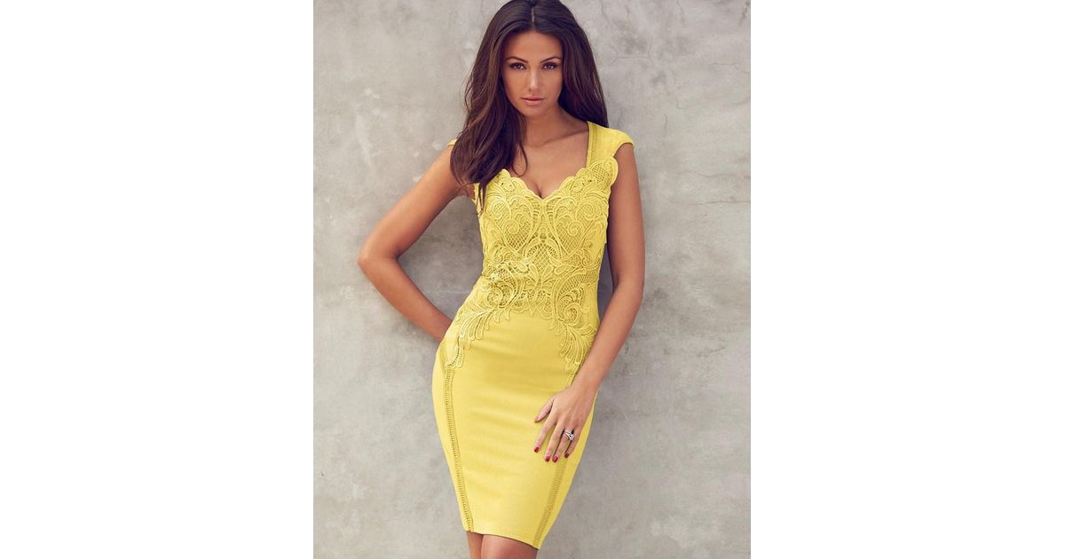 Lipsy Lace Applique Bodycon Dress in Yellow   Lyst