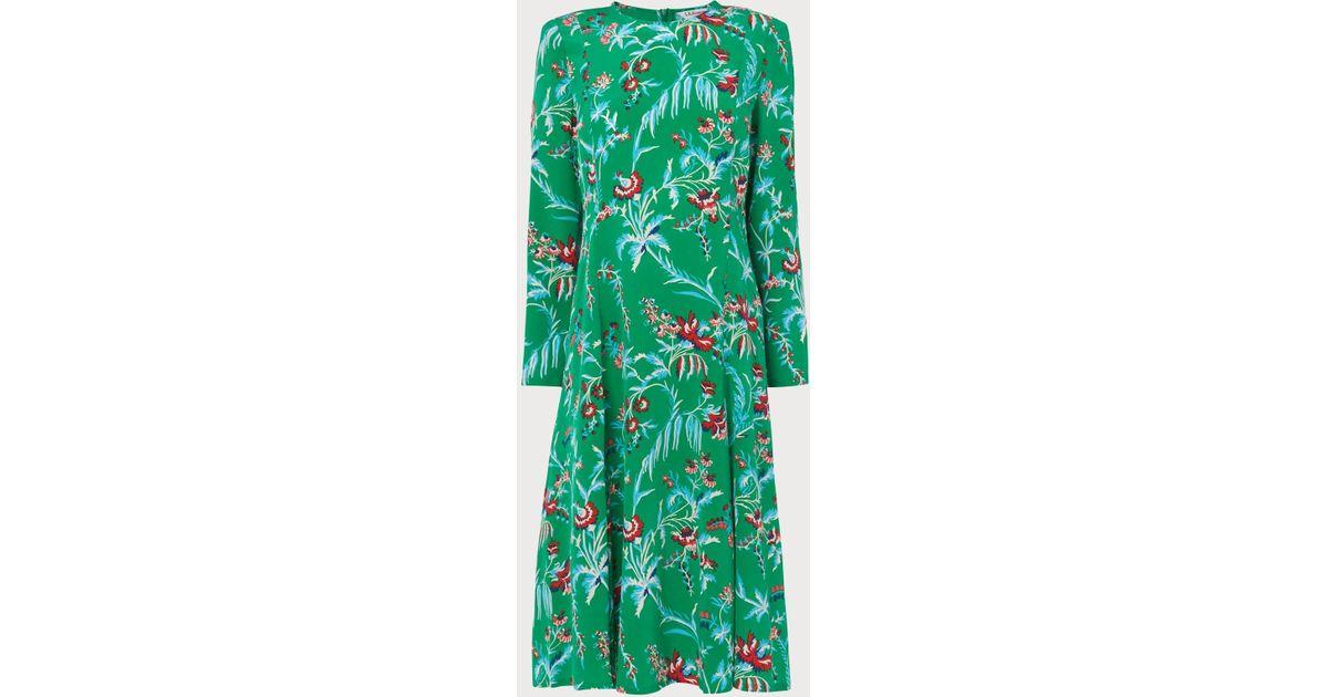 b688ce82bc5e L.K.Bennett Leanie Wildflower Print Green Silk Midi Dress in Green - Lyst