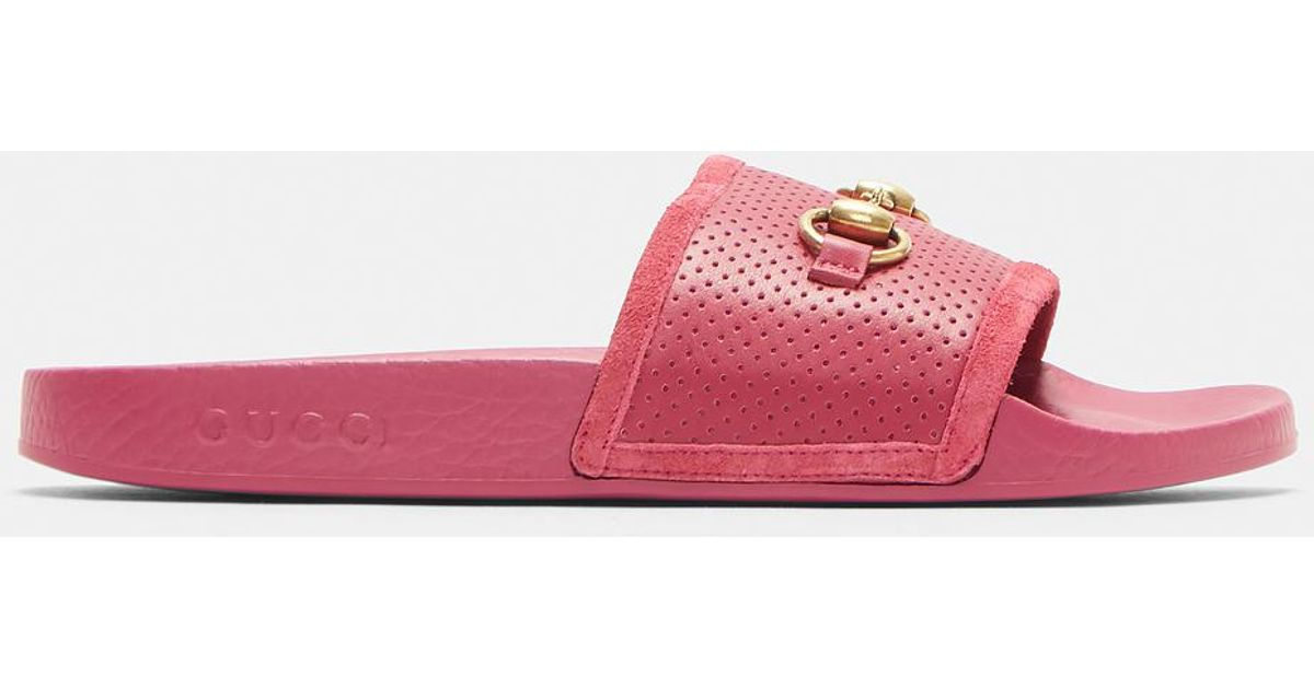 e81fe1986cd9 Lyst - Gucci Horsebit Sliders In Pink in Pink