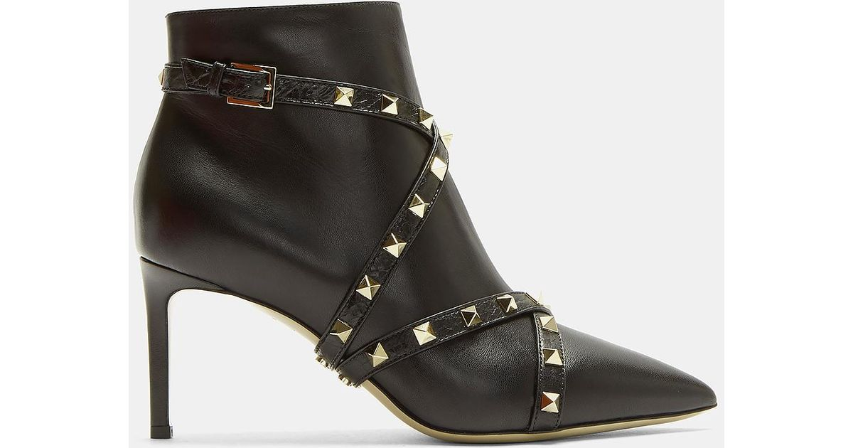 115076d77 Valentino Pyramid-studded Strap Boots In Black in Black - Lyst