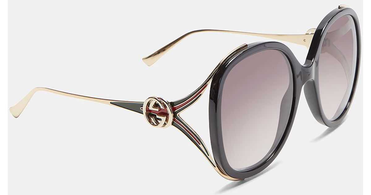02fba495b38 Lyst - Gucci Round Frame Injected Sunglasses In Black in Black