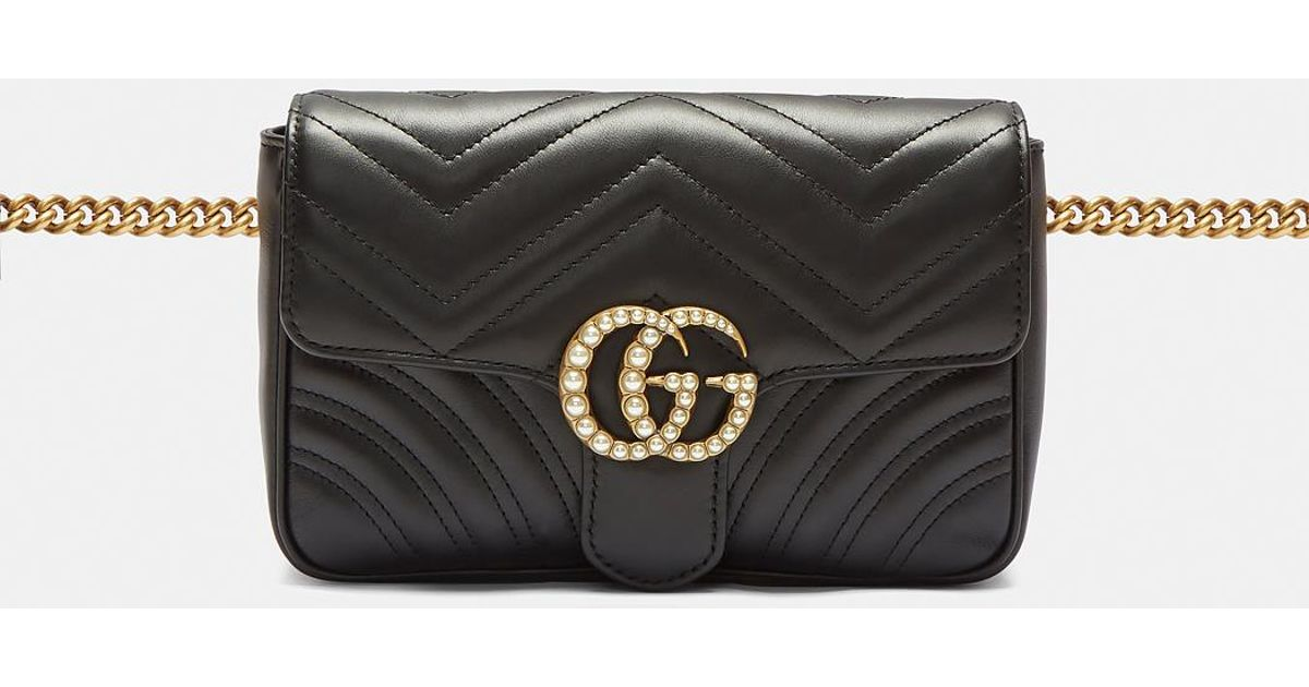 20af1891464 Lyst - Gucci Marmont 2.0 Gg Pearl Bag In Black in Black