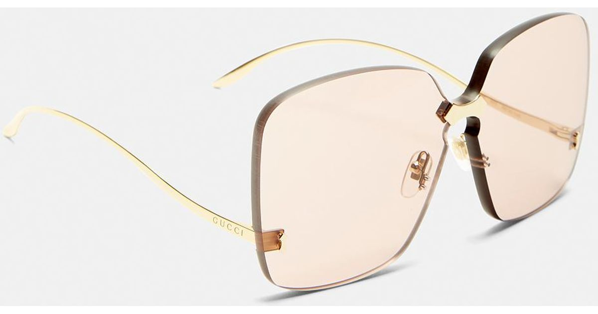 b1c6d8c01f512 Gucci Square Frameless Gold Arm Sunglasses In Pink in Metallic - Lyst