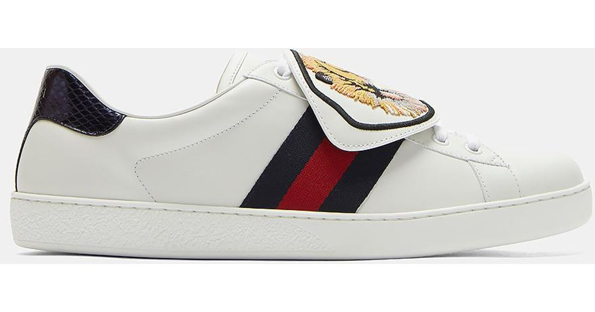c9615a653b9 Lyst - Gucci Ace Removable Embroidered Tiger Patch Sneakers In White in  White