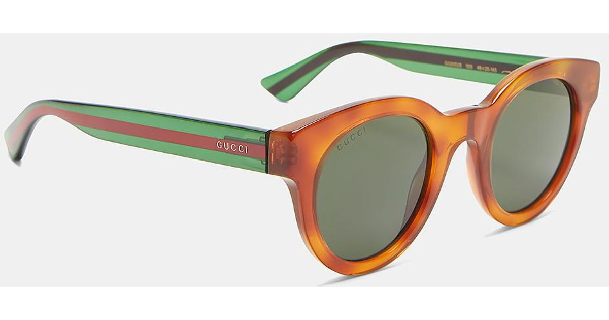 7f50d5b3b94 Lyst - Gucci Men s Tortoiseshell Striped Arm Round Sunglasses In Brown