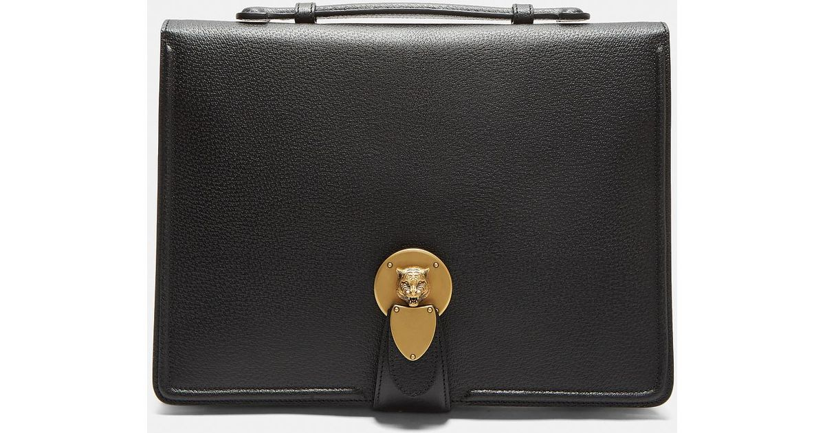 fca20449459c Lyst - Gucci Tiger Head Clasp Portfolio In Black in Black