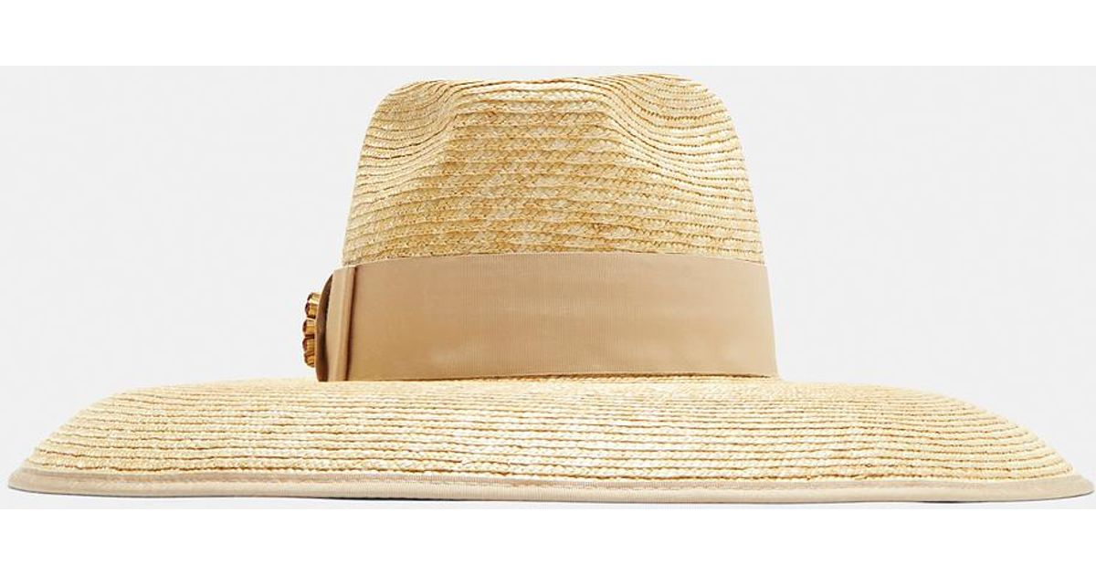 3720ae460ea Gucci Embellished Straw Hat In Beige in Natural - Lyst