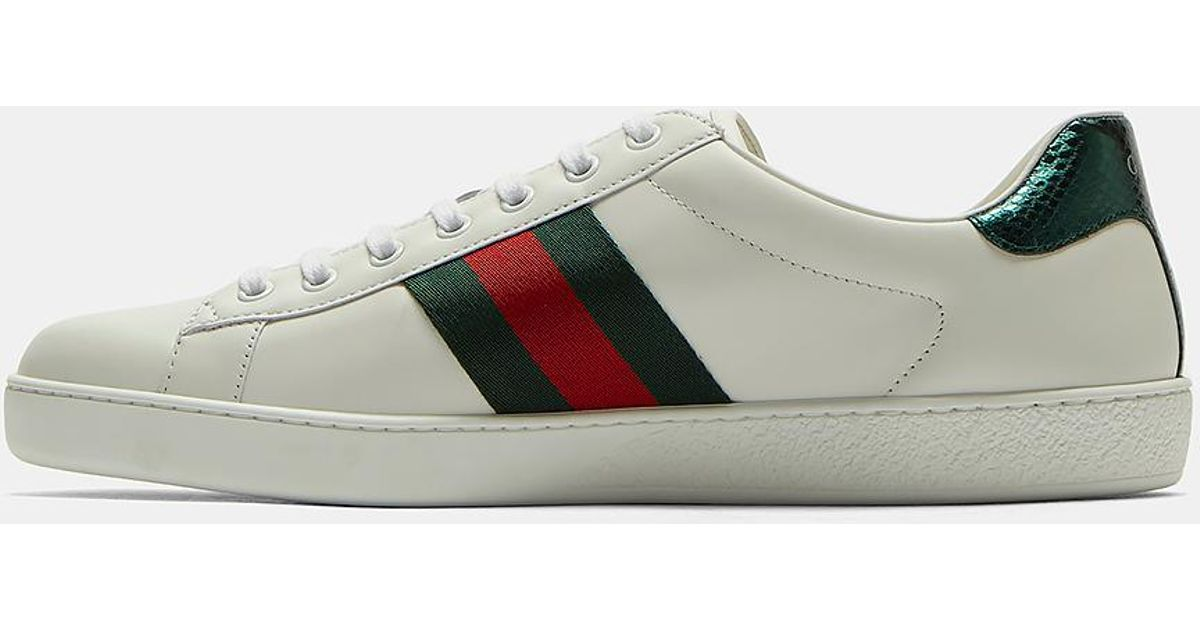 90f8651cdc7 Lyst - Gucci Ace Snake Embroidered Sneakers In White in White for Men