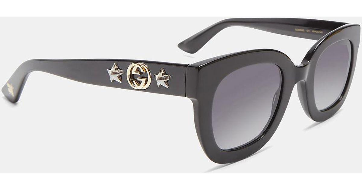 25a699ebd2826 Gucci Round Frame Star Sunglasses In Black in Black - Lyst