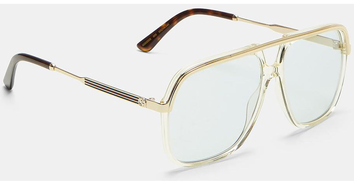 Merveilleux Lyst   Gucci Straight Top Bar Aviator Sunglasses In Brown And Gold In Brown  For Men