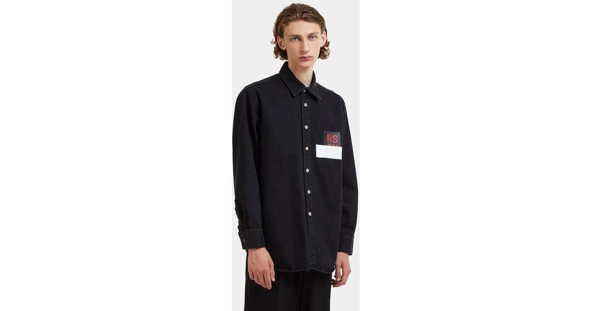 3e25743357d ... Lyst Raf Simons Rs Leather Patch Denim Shirt In Black in Black for Men