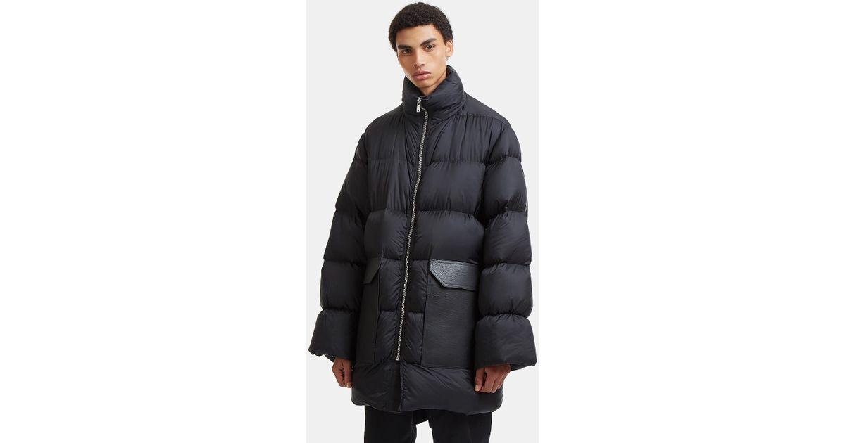 ce14c63436d06 Lyst - Rick Owens Jumbo Leather Patch Pocket Windbreaker Coat in Black for  Men