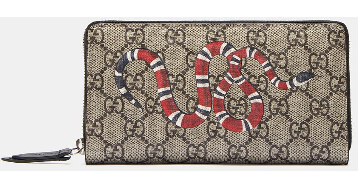 fae2a5e7752 Lyst - Gucci Snake Print GG Supreme Zip Around Wallet for Men