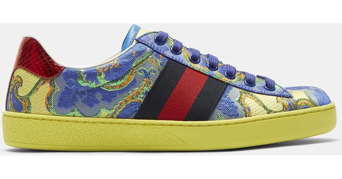 0c7d6941566 Lyst - Gucci Men s Metallic Jacquard Sneakers In Yellow And Blue in Yellow  for Men