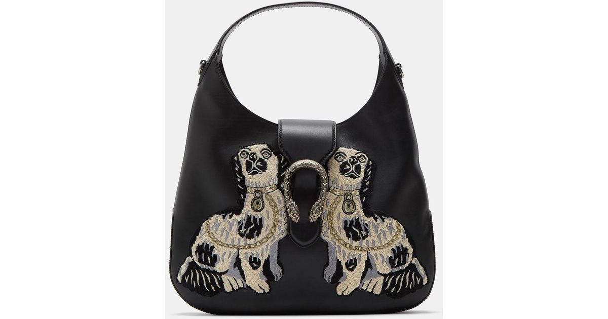 f44364d20fab Gucci Women's Dionysus Medium Dog Embroidered Hobo Bag In Black in Black -  Lyst