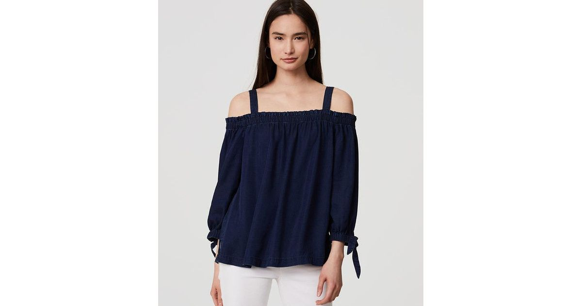 31354a360e6ad Lyst - LOFT Petite Chambray Off The Shoulder Top in Blue