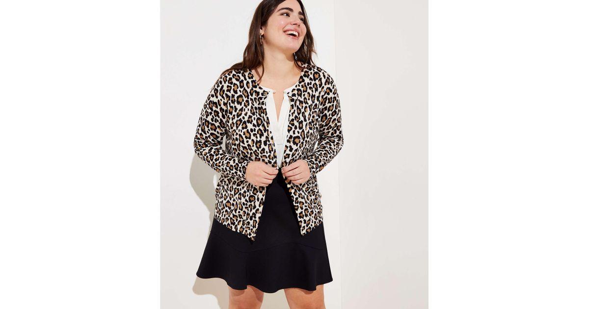 0400f80438f Lyst - LOFT Plus Leopard Print Signature Cardigan in Black