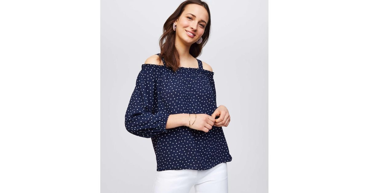00877279d2fc8 Lyst - LOFT Dotted Mixed Media Off The Shoulder Top in Blue
