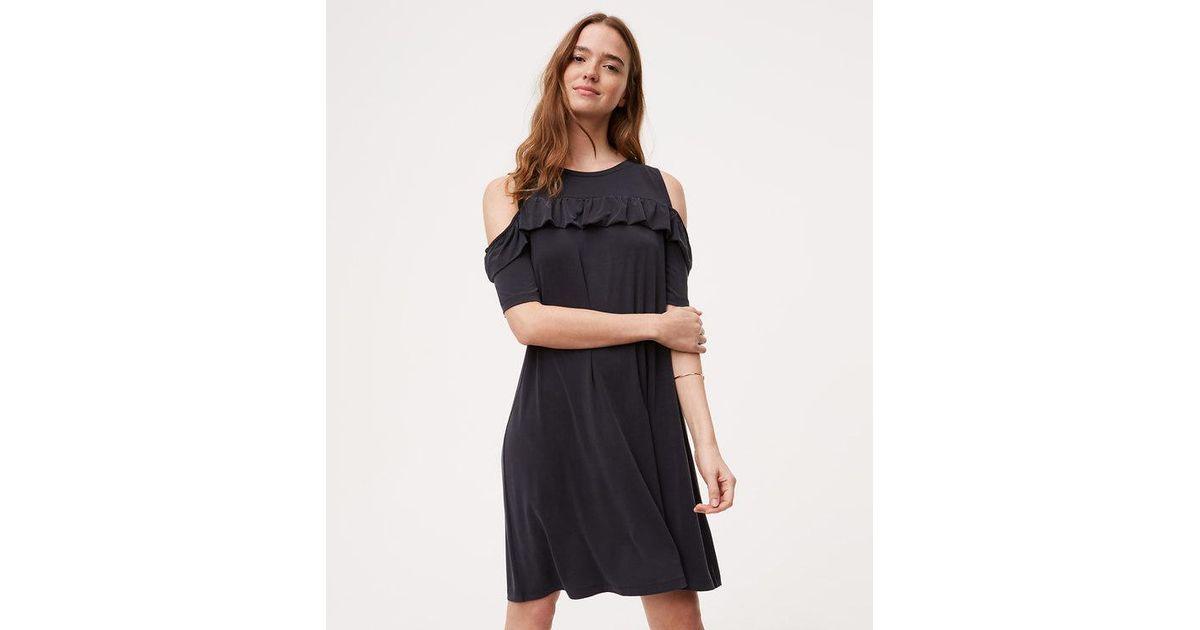 Lyst Loft Petite Ruffle Cold Shoulder Swing Dress In Black
