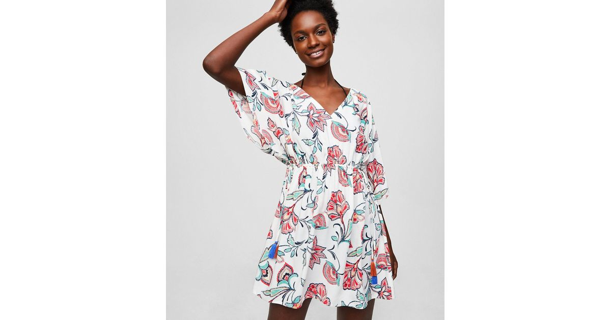 3949277783f44 LOFT Beach Floral Caftan Dress in White - Lyst