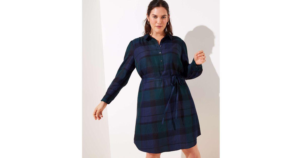 7b01e70a2a Lyst - LOFT Plus Plaid Tie Waist Shirtdress in Blue