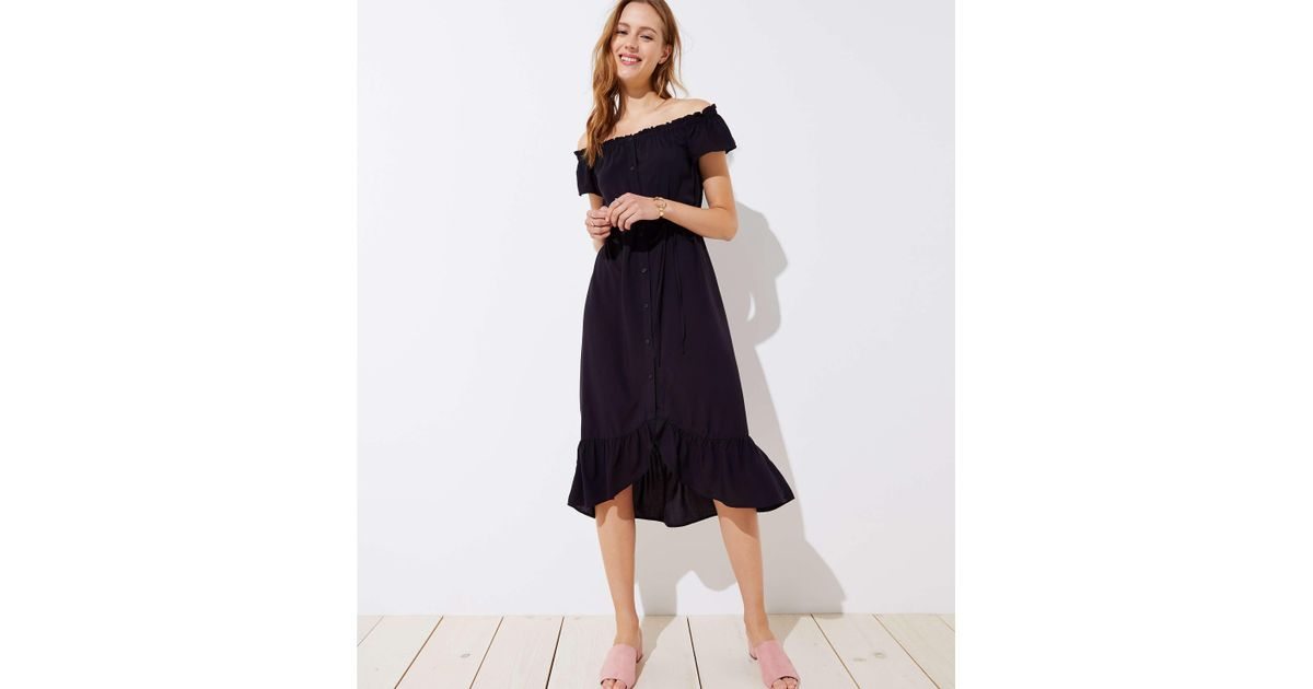 ee8e4f8b619c Lyst - LOFT Petite Off The Shoulder Button Down Midi Dress in Black